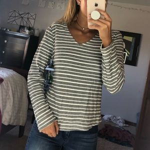 Grey and White Long Sleeve with Tie in Back